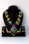 EthniCache™ Silk Thread Jewelry Silk Thread Jewellery Set with Colourful Beads