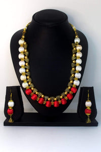 EthniCache™ Silk Thread Jewelry Silk Thread Jewellery Set with Red and White Beads