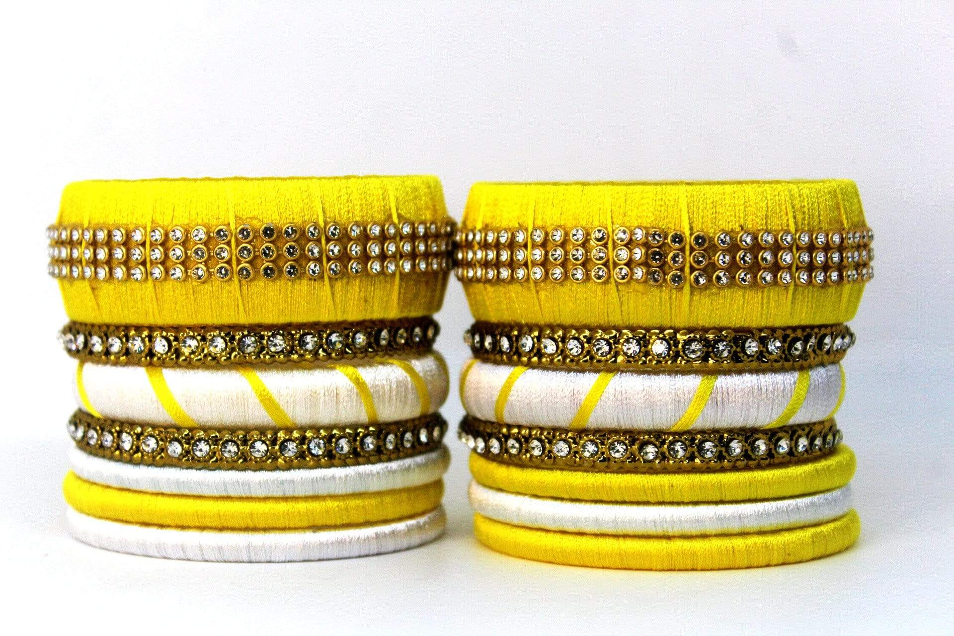 EthniCache™ Silk Thread Jewelry Silk Thread Jewellery Set with Yellow and White Beads