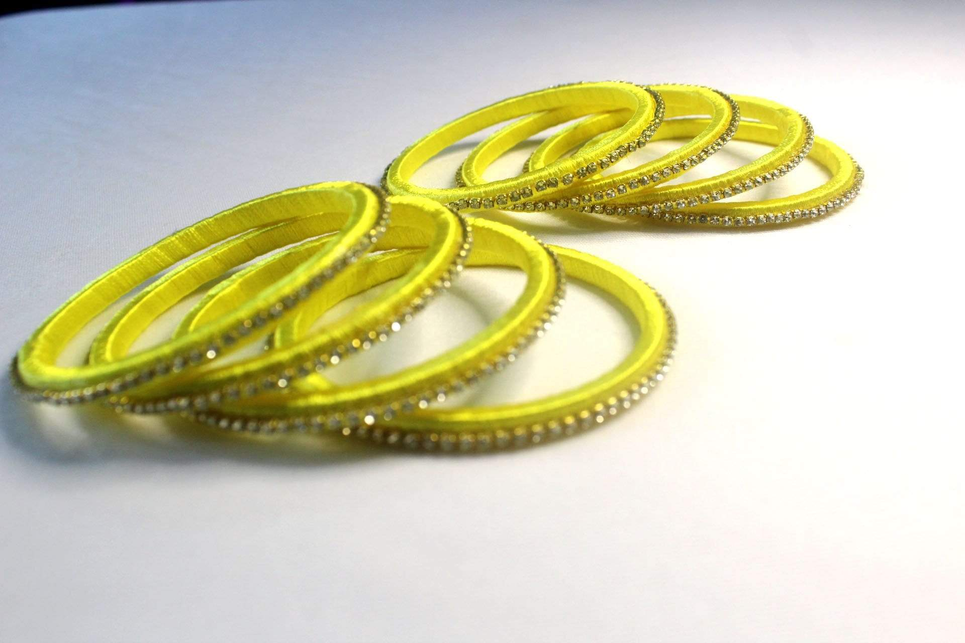 EthniCache Silk Thread Jewelry Thin Green Silk Thread Ethnic Bangle Set (Set of 8 pieces)