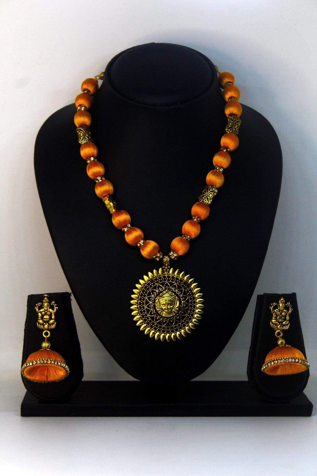 EthniCache™ Silk Thread Jewelry Traditional Silk Thread Jewellery with Large Oxidized Pendant