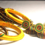 EthniCache Silk Thread Jewelry Yellow Ornamental Traditional Silk Thread Bangle Set (Set of 14 pieces)