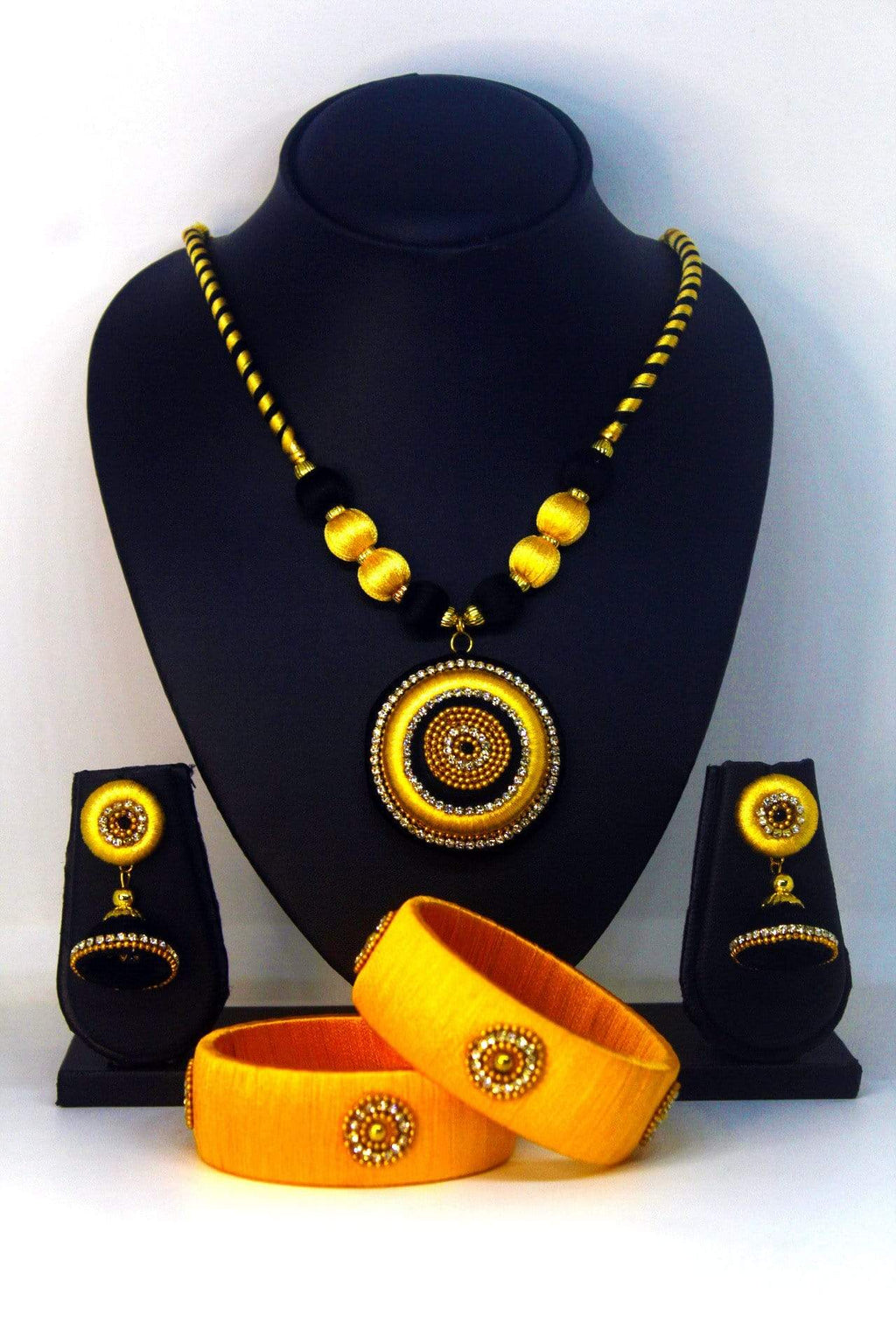EthniCache™ Silk Thread Jewelry Yellow Silk Thread Jewellery Set