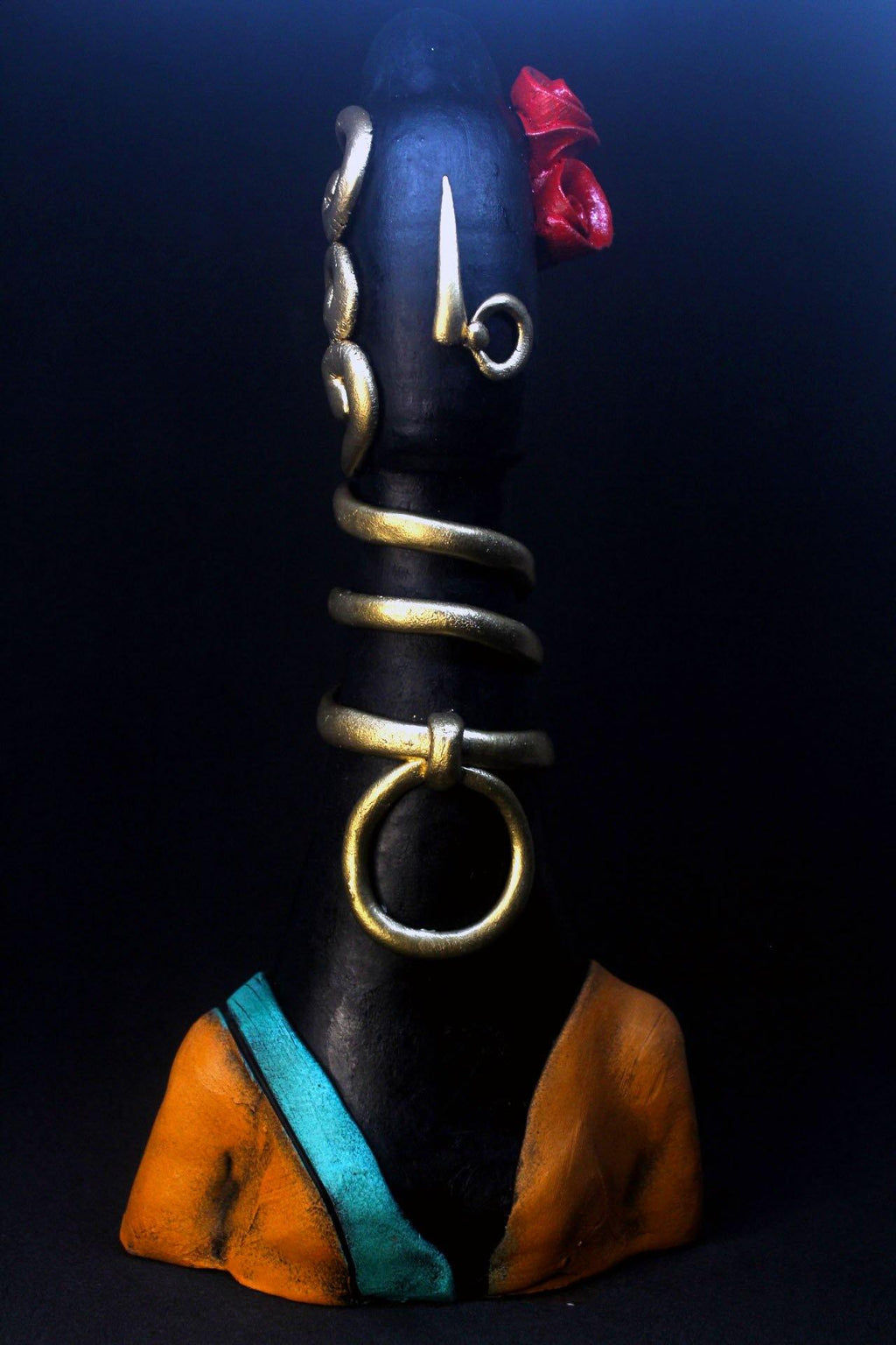 EthniCache™ Statue Handmade Black, Yellow and Gold Terracotta Statue Home Decor