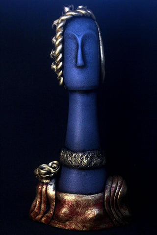 EthniCache™ Statue Handmade Blue and Golden Modern Terracotta Statue Home Decor