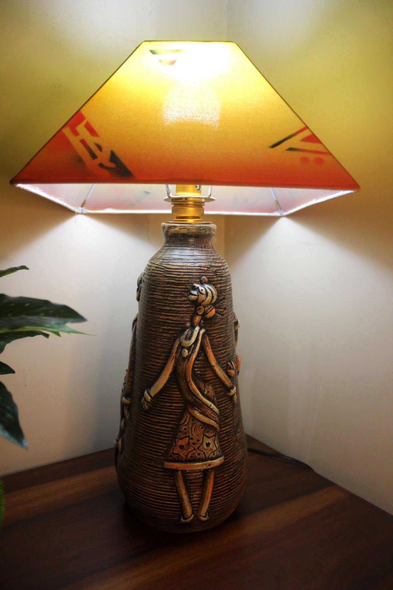 EthniCache Table Lamp Abstract Girl Terracotta Table Lamp