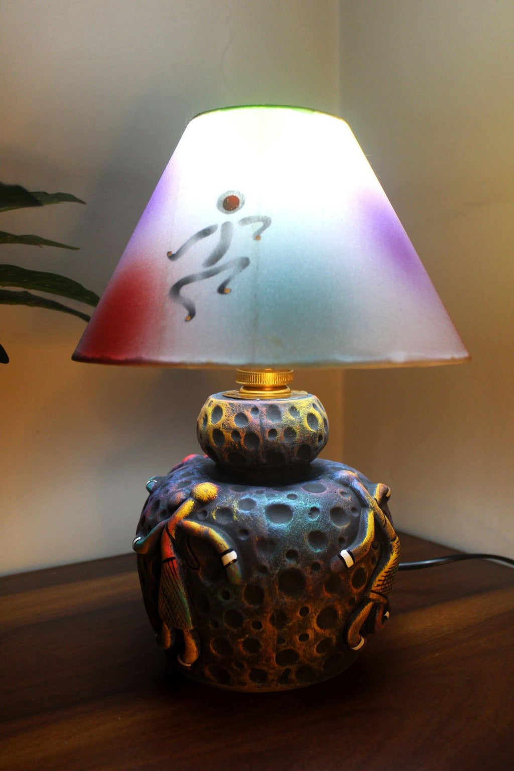 EthniCache Table Lamp Abstract Terracotta Handmade Table Lamp