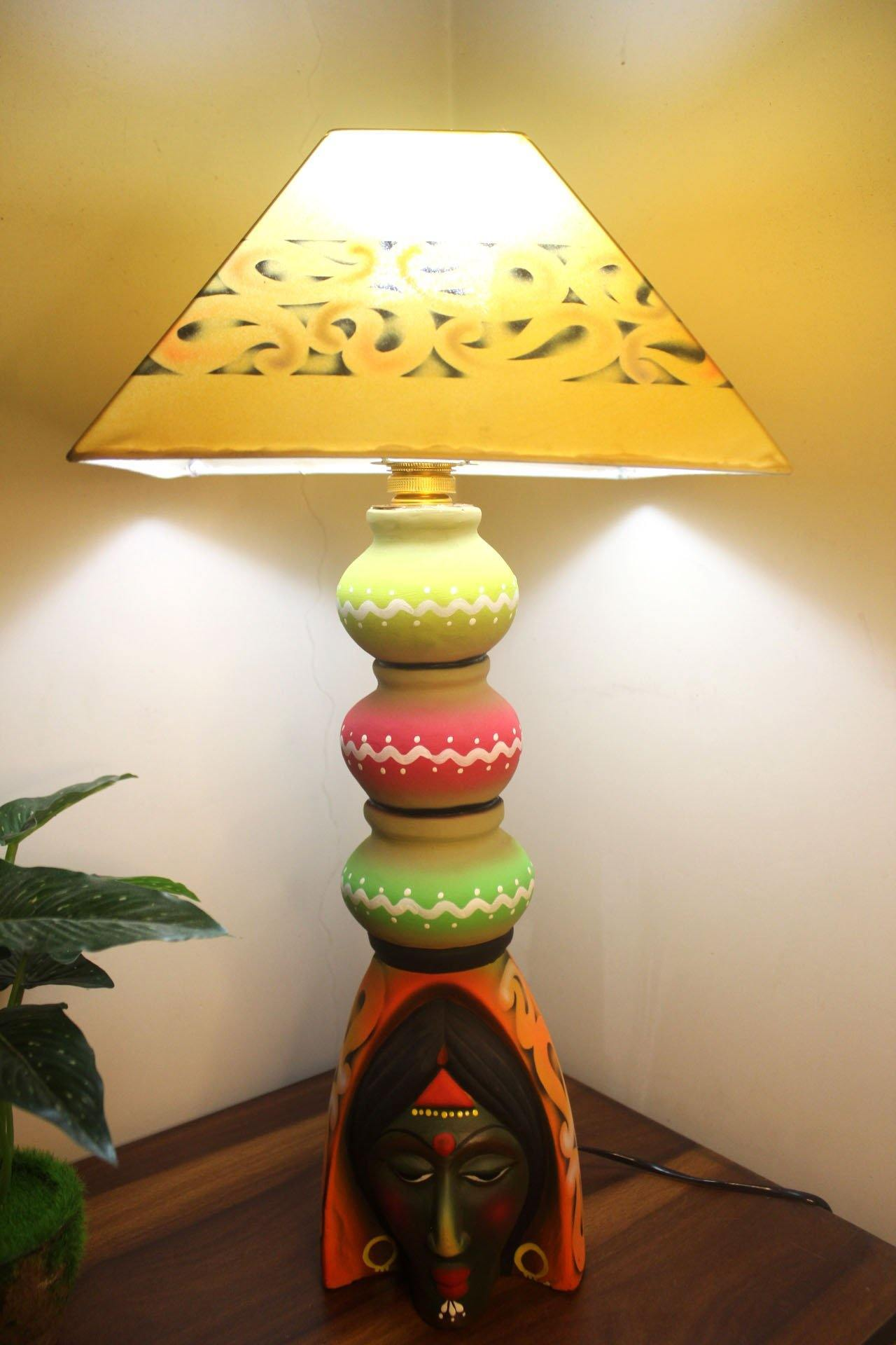 EthniCache Table Lamp Large Traditional Woman Terracotta Table Lamp