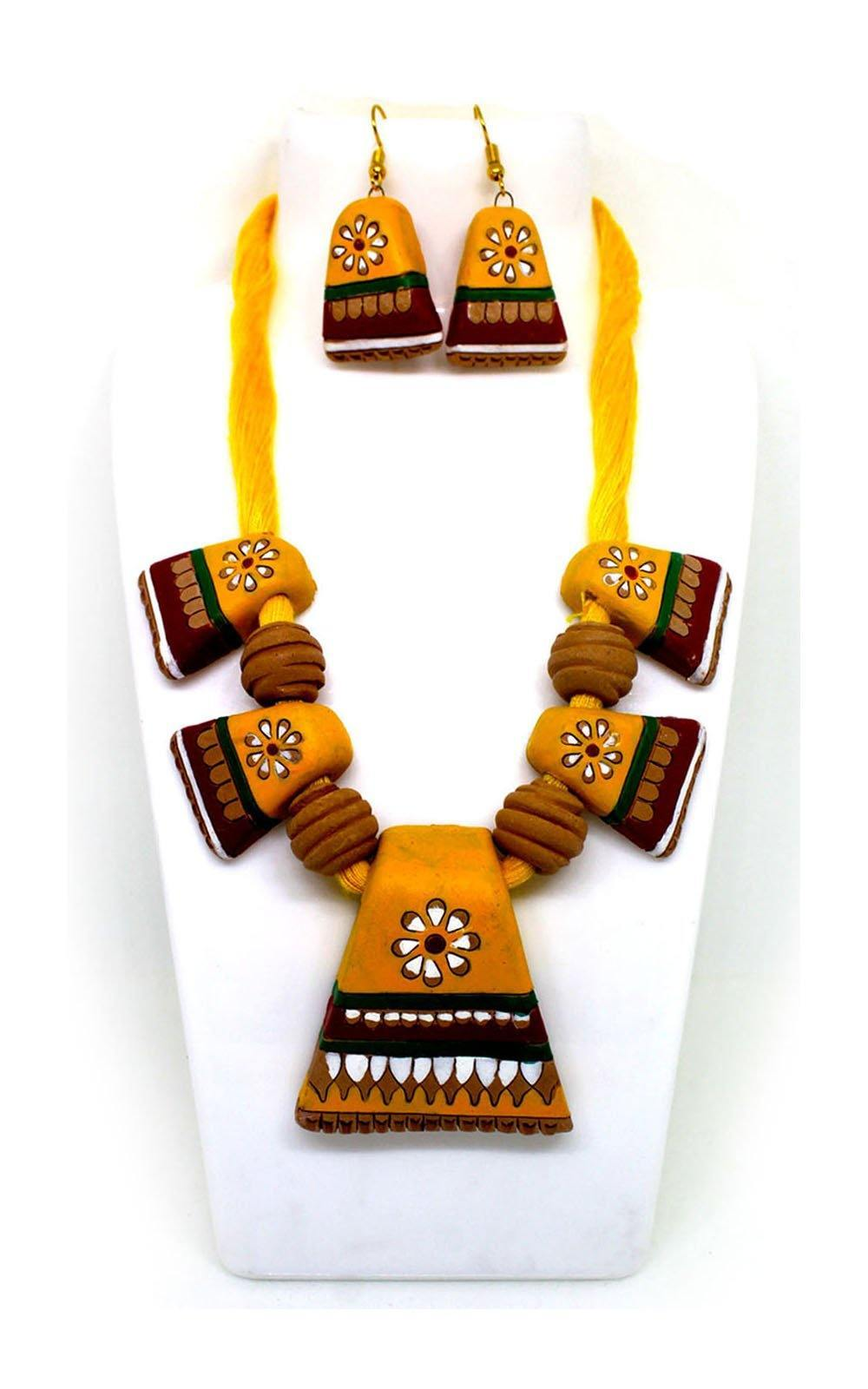 EthniCache Terracotta Jewelry Amazing Yellow Terracotta Set