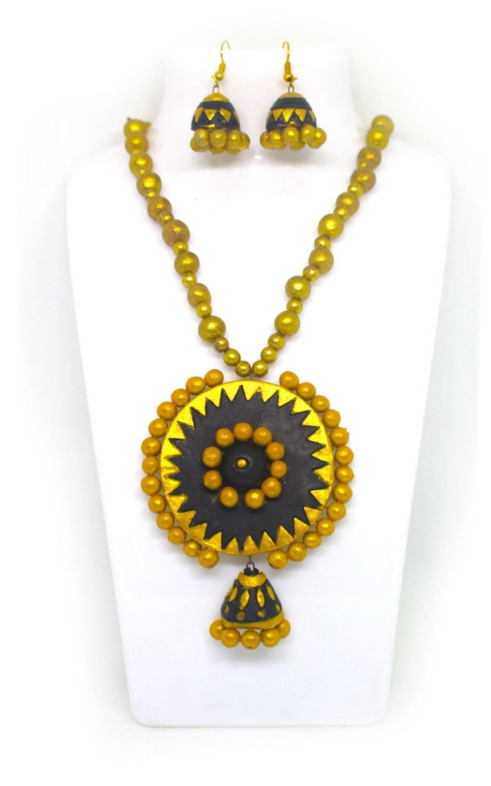 EthniCache Terracotta Jewelry Aztec Gold Terracotta Set