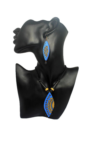 EthniCache Terracotta Jewelry Blue Azure Terracotta Set