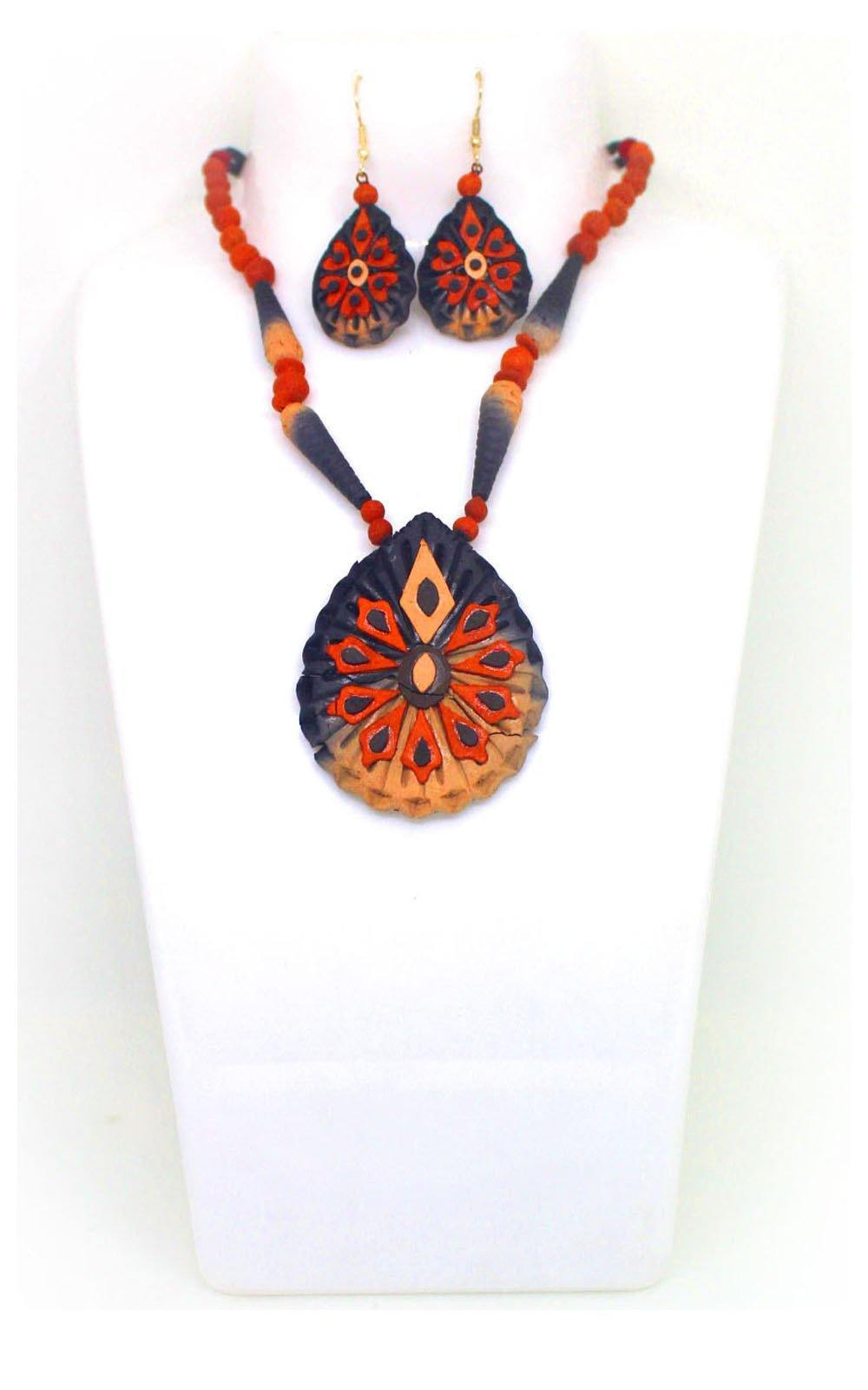 EthniCache Terracotta Jewelry Burnt Terracotta Set