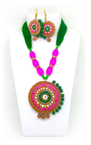 EthniCache Terracotta Jewelry Clay Pink Terracotta Set