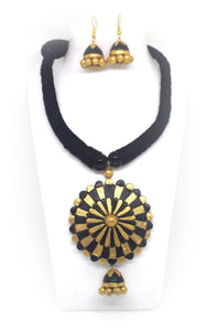 EthniCache Terracotta Jewelry Concentric Gold Terracotta Set