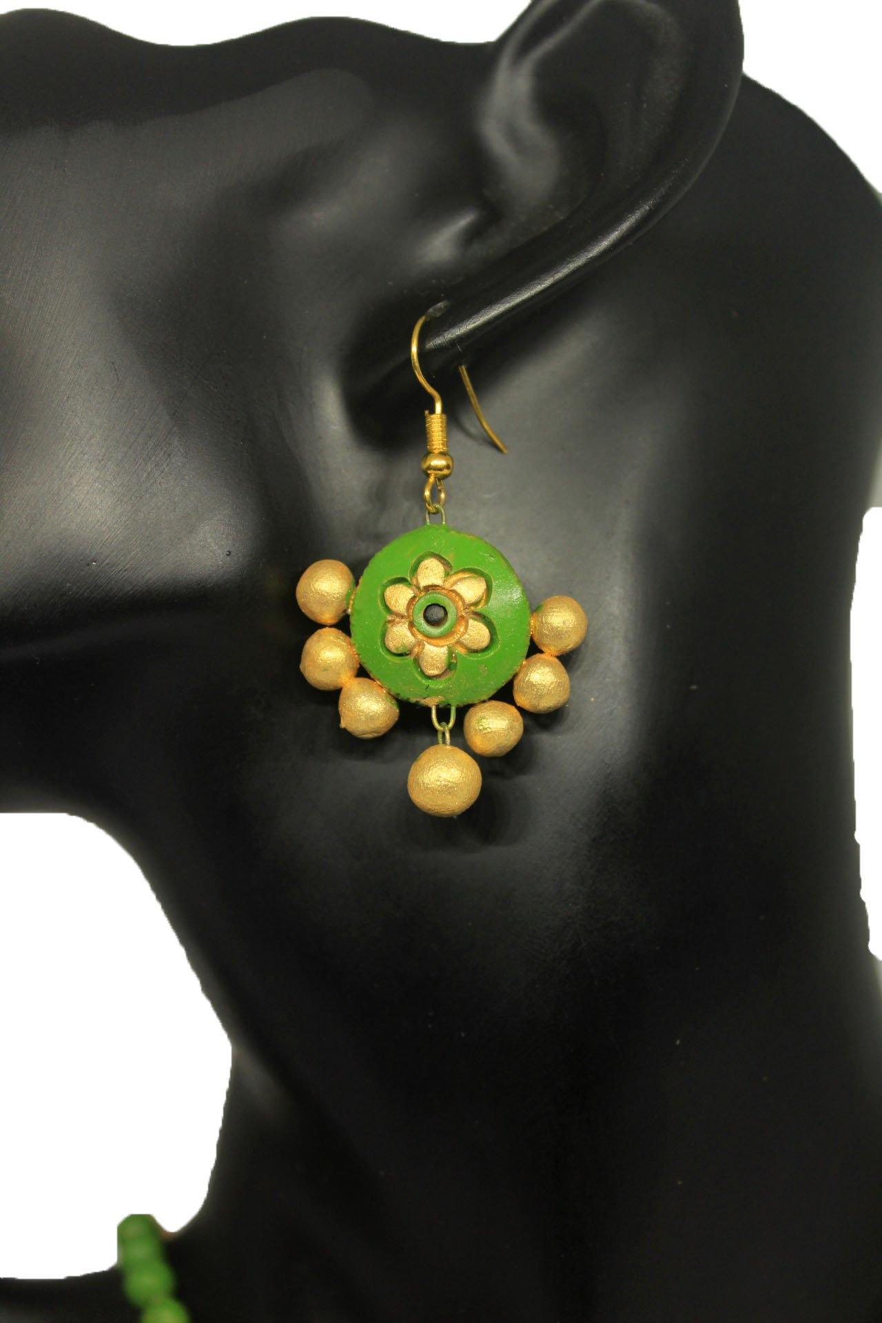 EthniCache Terracotta Jewelry Floral Gold Terracotta Set