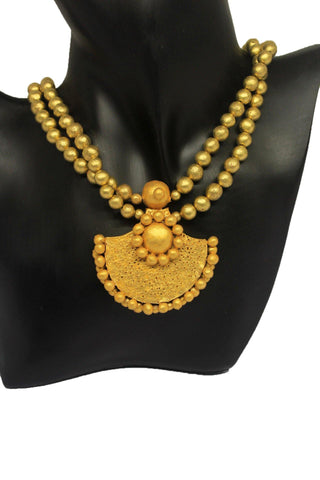 EthniCache Terracotta Jewelry Golden Beads Terracotta Set