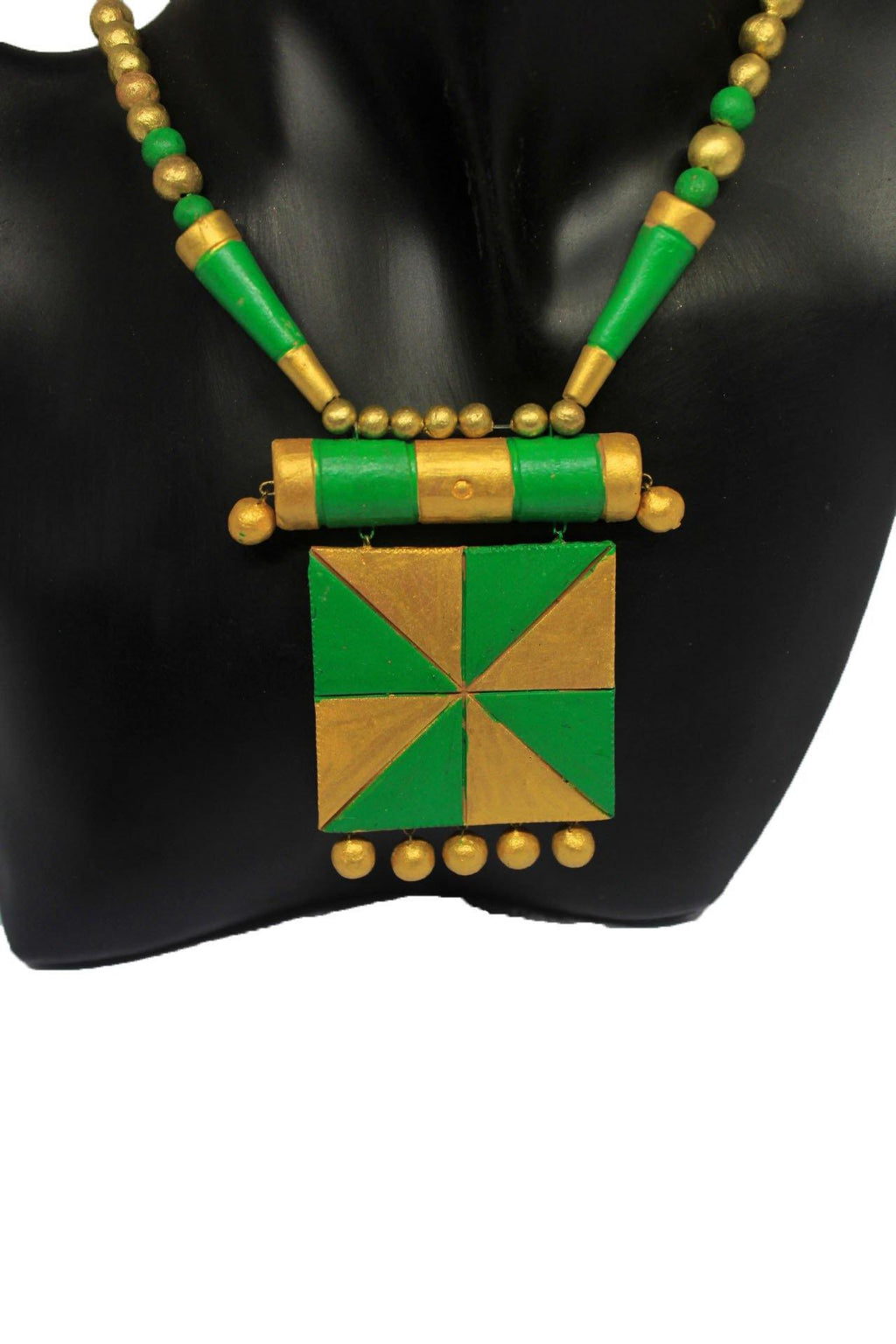 EthniCache Terracotta Jewelry Golden Square Terracotta Jewelry Set