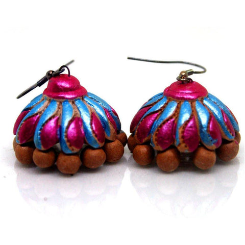EthniCache Terracotta Jewelry Handcrafted Clay Pink Terracotta Earrings