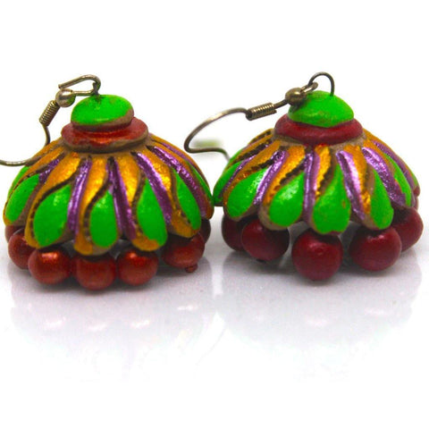 EthniCache Terracotta Jewelry Handcrafted Green Red Mixed Hues Terracotta Earrings