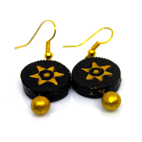 EthniCache Terracotta Jewelry Handcrafted Simple Black Terracotta Earrings