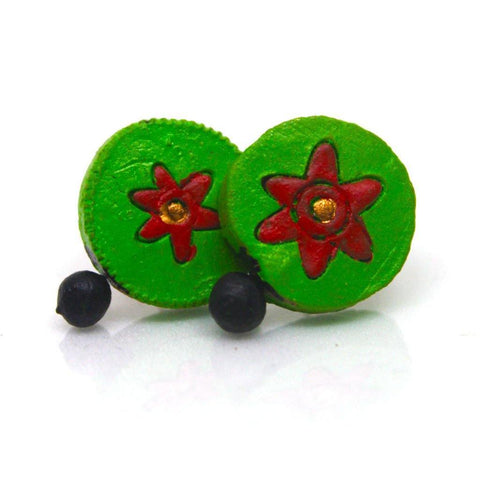 EthniCache Terracotta Jewelry Handcrafted Simple Green Terracotta Earrings