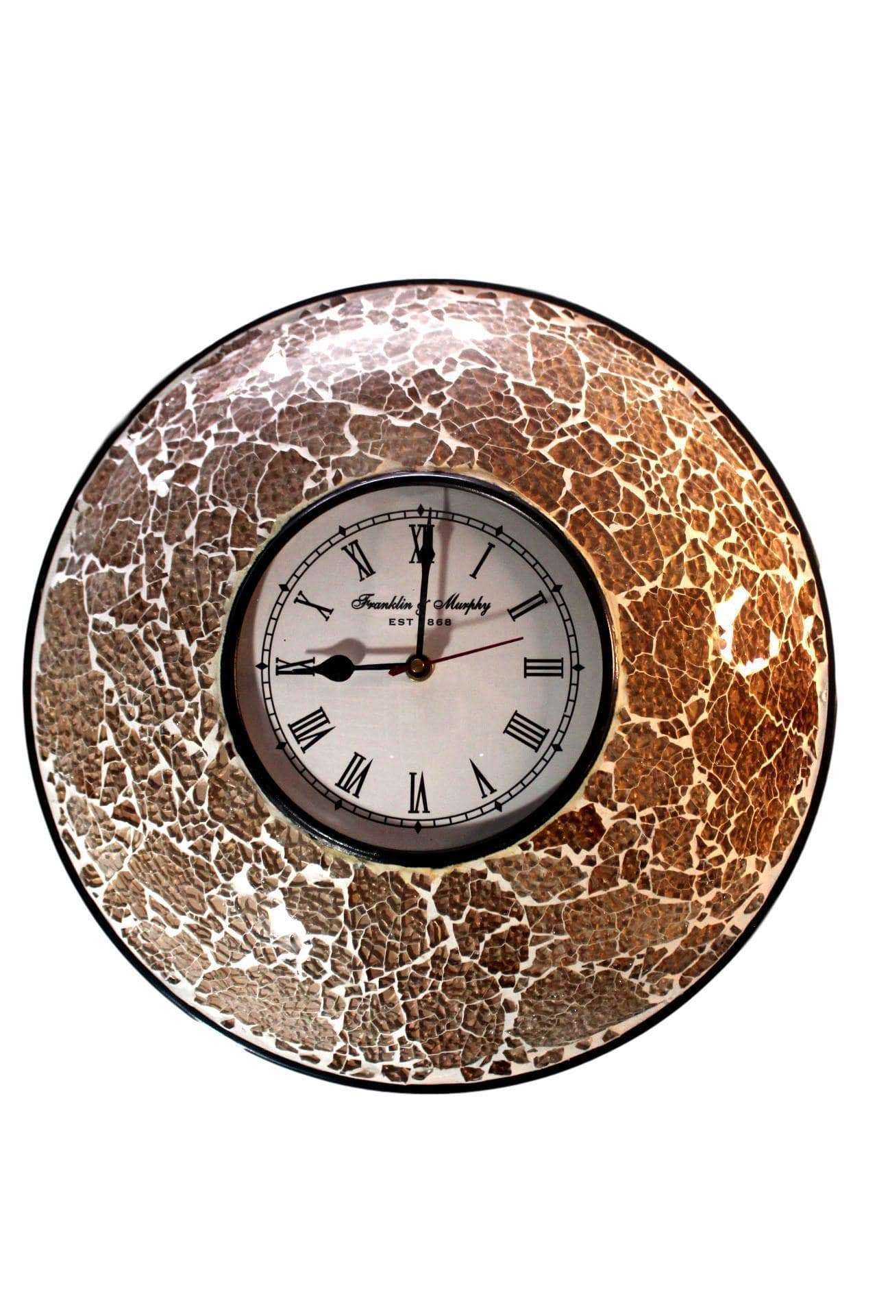 EthniCache Wall Clock Handcrafted Dusky Glass Crackle Frame Large Wall Clock