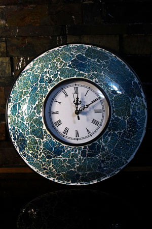 EthniCache Wall Clock Handcrafted Firozi Glass Crackle Frame Large Wall Clock