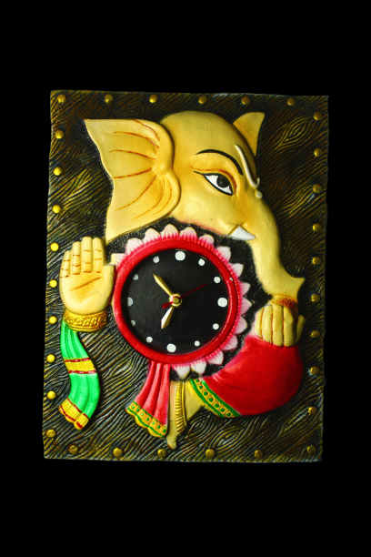 EthniCache Wall Clock Handcrafted Ganesha Terracotta Wall Clock