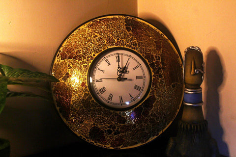 EthniCache Wall Clock Handcrafted Golden Glass Crackle Frame Large Wall Clock