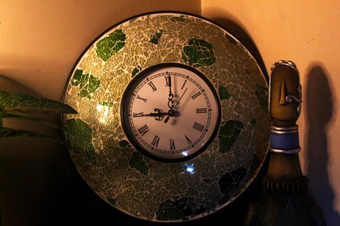 EthniCache Wall Clock Handcrafted Green Glass Crackle Frame Large Wall Clock