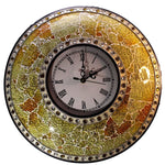 EthniCache Wall Clock Handcrafted Lemon and Beads Glass Crackle Frame Large Wall Clock