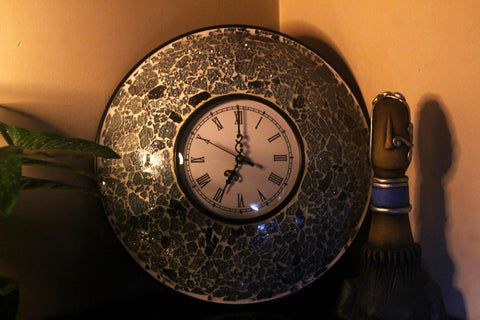 EthniCache Wall Clock Handcrafted Light and Dark Grey Glass Crackle Frame Large Wall Clock