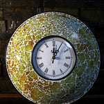 EthniCache Wall Clock Handcrafted Lime Glass Crackle Frame Large Wall Clock