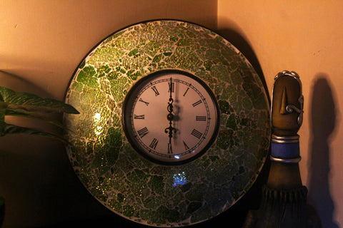 EthniCache Wall Clock Handcrafted Mehendi Golden Glass Crackle Frame Large Wall Clock