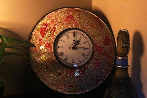 EthniCache Wall Clock Handcrafted Pink Glass Crackle Frame Large Wall Clock