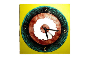 EthniCache Wall Clock Handmade Abstract Hues Wooden & Terracotta Wall Clock