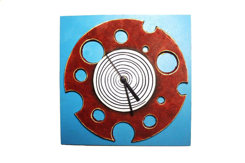 EthniCache Wall Clock Handmade Abstract Red & Sky Wooden & Terracotta Wall Clock