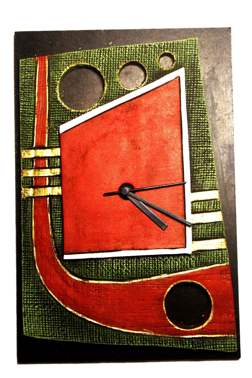 EthniCache Wall Clock Handmade Black & Red Abstract Wooden & Terracotta Wall Clock