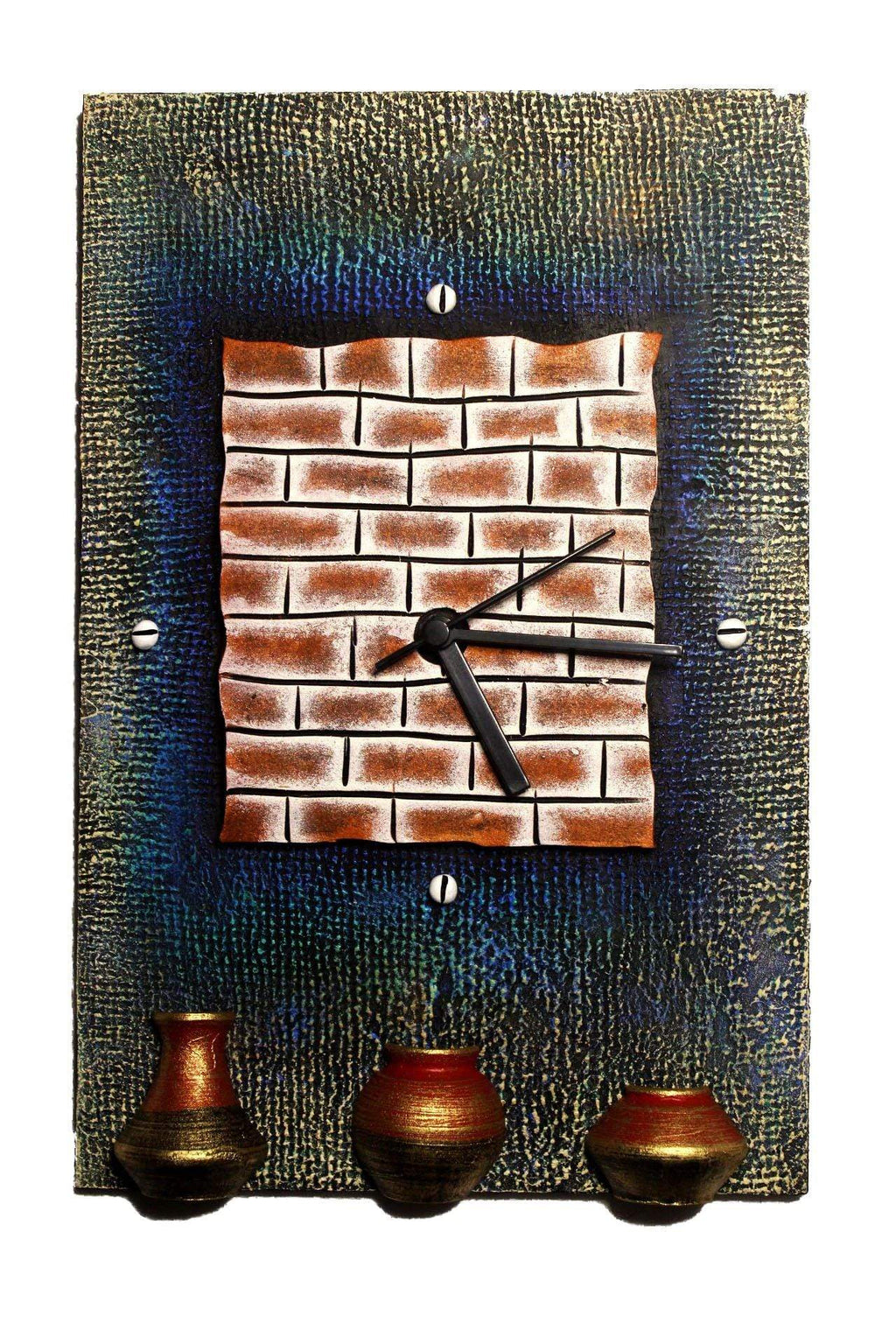 EthniCache Wall Clock Handmade Brick & Pots Wooden & Terracotta Wall Clock