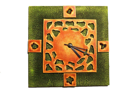 EthniCache Wall Clock Handmade Brown Abstract Wooden & Terracotta Wall Clock
