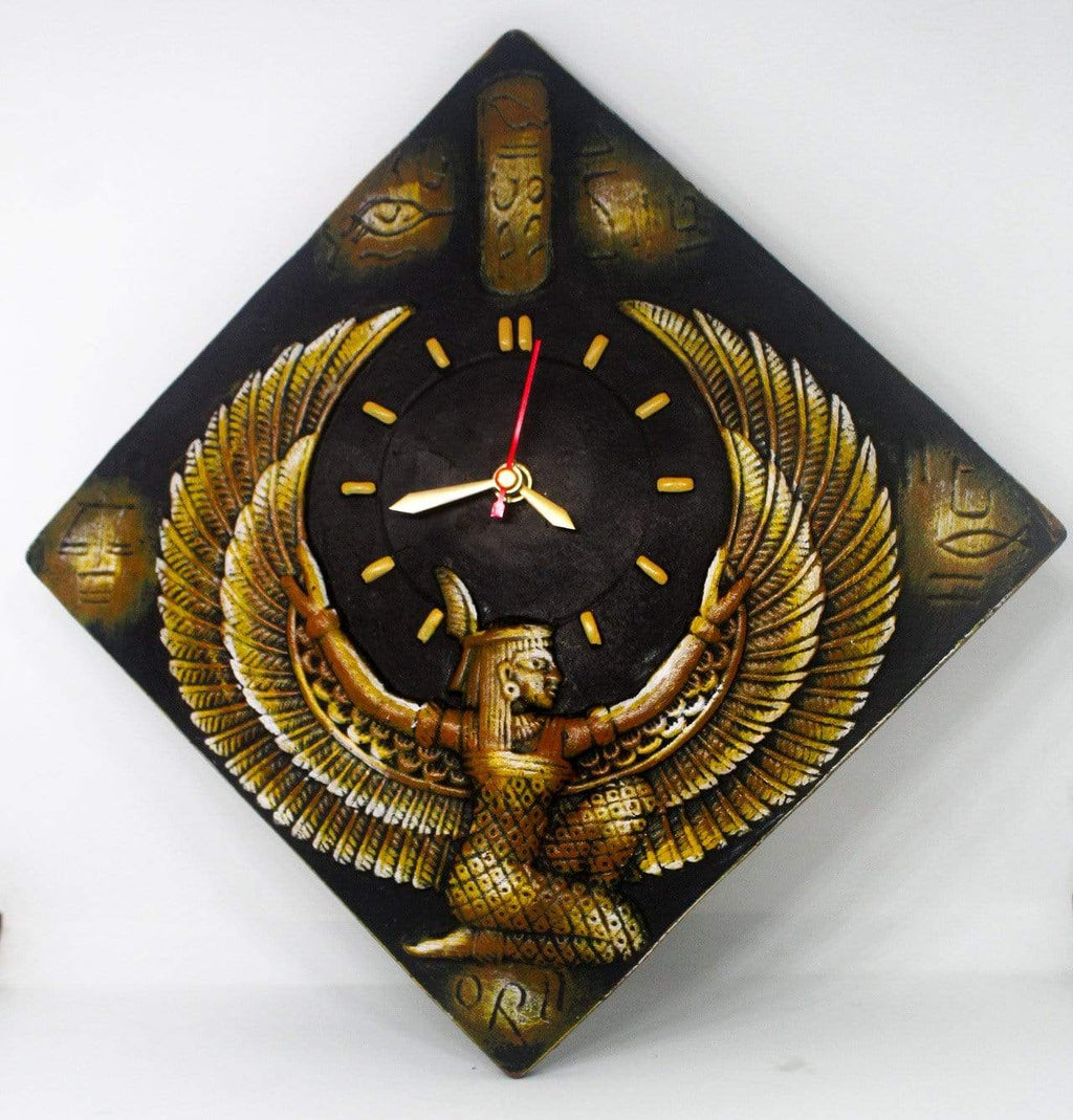 EthniCache Wall Clock Handmade Egyptian Terracotta Wall Clock