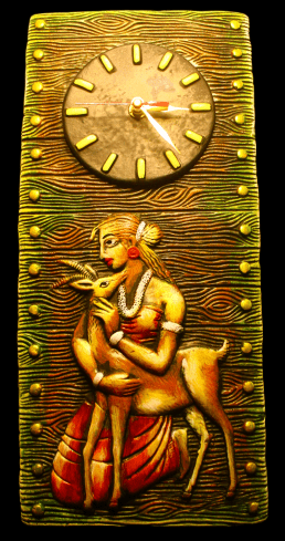 EthniCache Wall Clock Handmade Girl & Deer Terracotta Wall Clock