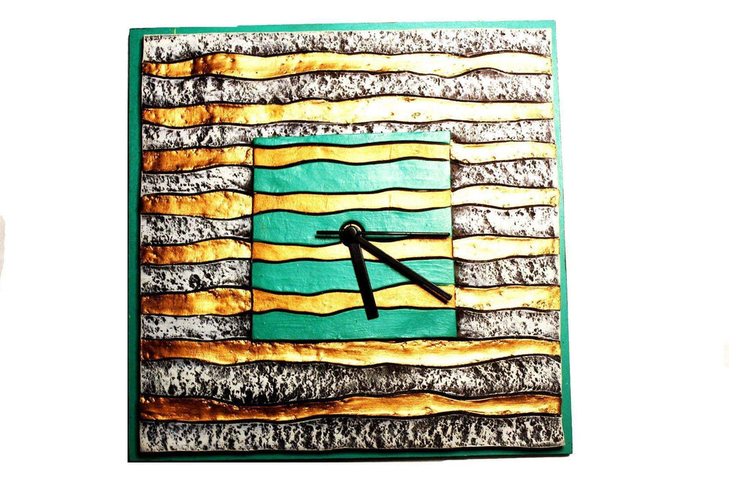 EthniCache Wall Clock Handmade Green & Golden Stripes Wooden & Terracotta Wall Clock
