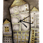 EthniCache Wall Clock Handmade Night Scene Wooden & Terracotta Wall Clock