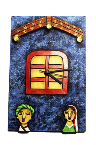 EthniCache Wall Clock Handmade Roof & Window Wooden & Terracotta Wall Clock