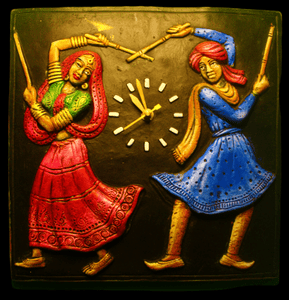 EthniCache Wall Clock Handmade Square Traditional Dancers Terracotta Wall Clock