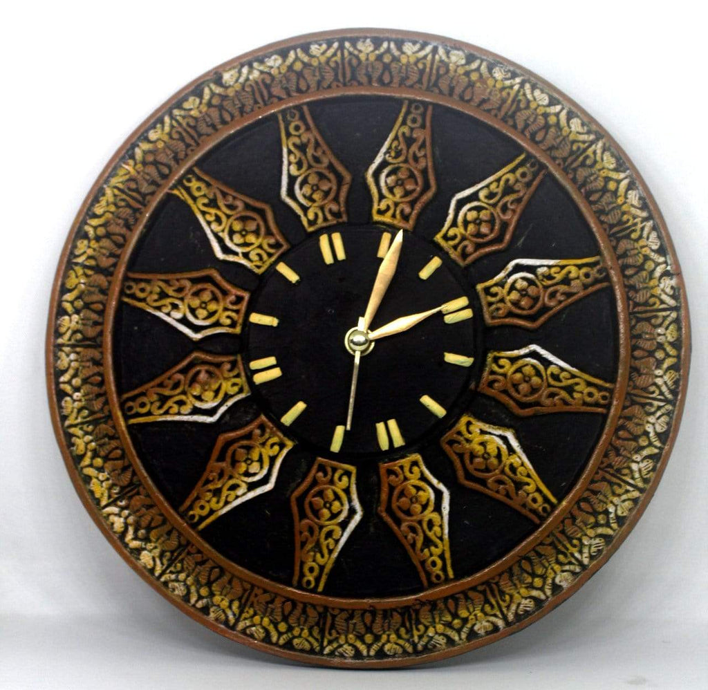 EthniCache Wall Clock Handmade Wheel Shaped Terracotta Wall Clock