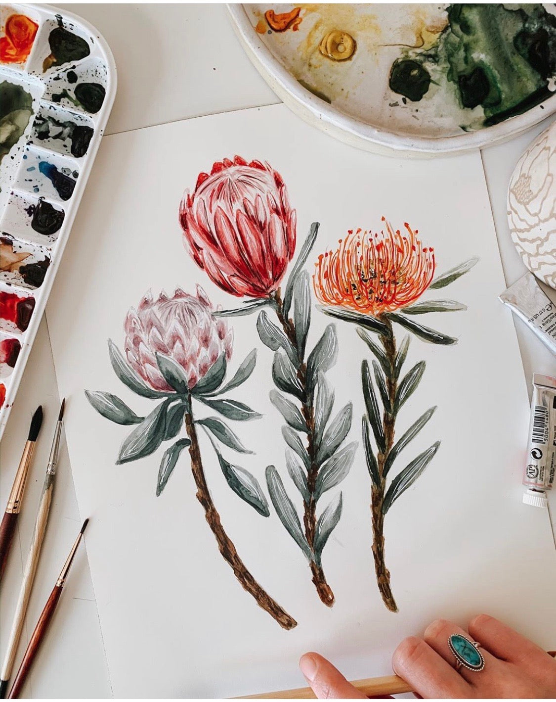 Protea Watercolor (MacaelaMade Print)
