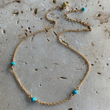 Fine chain turquoise anklet in gold or silver