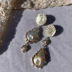Paradise sun & moon double pearl statement earrings
